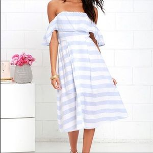 Lulu's Blue & White Striped Off The Shoulder Dress